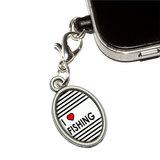 I Love Heart Fishing Oval Mobile Phone Charm