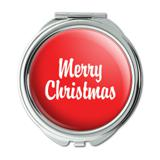 Merry Christmas Red Compact Purse Mirror
