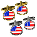 American USA Flag - Patriotic Round Cufflinks