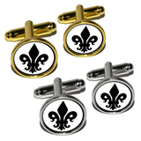 Fleur de Lis - Black on White Round Cufflinks