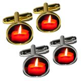 Christmas Candle - Advent Wreath Holiday Round Cufflinks