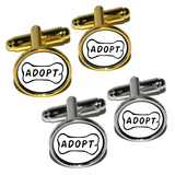 Adopt Dog Bone - Animal Shelter Adoption Round Cufflinks