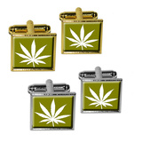 Marijuana Leaf - Olive Square Cufflinks