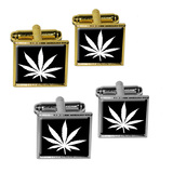 Marijuana Leaf - Black Square Cufflinks