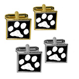 Paw Print Distressed Black White Square Cufflinks