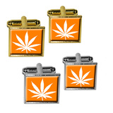 Marijuana Leaf - Orange Square Cufflinks