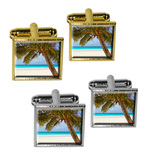 Tropical Palm Tree Ocean Beach Square Cufflinks