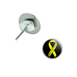 Support our Troops Ribbon - Yellow on Black Pierced Stud Earrings
