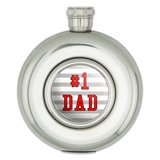 #1 Dad Number One Father Round Stainless Steel 5oz Hip Flask