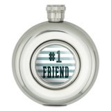 #1 Friend Number One Favorite Round Stainless Steel 5oz Hip Flask