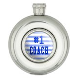 #1 Coach Number One Sports Athletics Round Stainless Steel 5oz Hip Flask