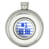 #1 Big Bro Brother Number One Favorite Round Stainless Steel 5oz Hip Flask