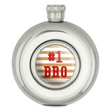 #1 Bro Number One Favorite Brother Sibling Round Stainless Steel 5oz Hip Flask