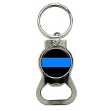 Thin Blue Line Round Bottle Opener Keychain