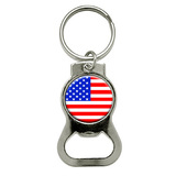 American USA Flag Round Bottle Opener Keychain