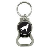 Wolf Howling Round Bottle Opener Keychain