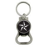 Nautical Star - Black Round Bottle Opener Keychain