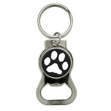Paw Print White on Black Round Bottle Opener Keychain