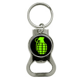 Hand Grenade on Black Round Bottle Opener Keychain