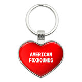 I Love American Foxhounds Heart Metal Key Chain
