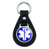 Star of Life Medical Health EMT RN MD Black Leather Keychain