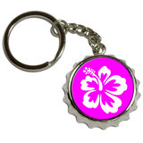 Hibiscus Flower Pink Pop Cap Bottle Opener Keychain