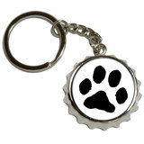 Paw Print Pop Cap Bottle Opener Keychain