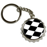 Checkered Flag - Racing NASCAR Pop Cap Bottle Opener Keychain