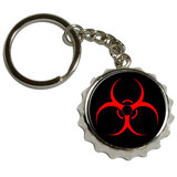Biohazard Warning Symbol Pop Cap Bottle Opener Keychain