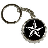 Nautical Star - Black Pop Cap Bottle Opener Keychain