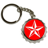 Nautical Star - Red Pop Cap Bottle Opener Keychain