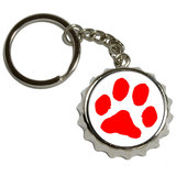 Paw Print - Red Pop Cap Bottle Opener Keychain