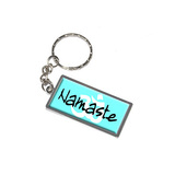 Namaste - Om Aum Metal Rectangle Keychain