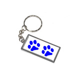 Paw Prints - Blue Metal Rectangle Keychain