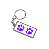 Paw Prints - Purple Metal Rectangle Keychain