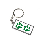 Paw Prints - Green Metal Rectangle Keychain