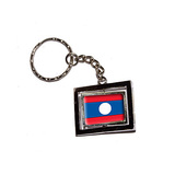 Laos Country Flag Spinning Rectangle Keychain