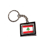 Lebanon Country Flag Spinning Rectangle Keychain