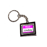 Lindsay Hello My Name Is Spinning Rectangle Keychain