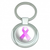 Breast Cancer Pink Ribbon Classy Round Chrome Plated Metal Keychain