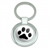Paw Print Pet Dog Cat Classy Round Chrome Plated Metal Keychain