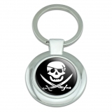 Pirate Skull Crossed Swords Jolly Roger Classy Round Chrome Plated Metal Keychain