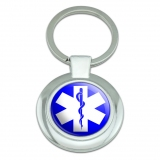 Star of Life Medical Health EMT RN MD Classy Round Chrome Plated Metal Keychain