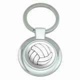 Cartoon Volleyball Classy Round Chrome Plated Metal Keychain