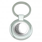 Golf Ball Golfing Golfer Classy Round Chrome Plated Metal Keychain