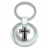 Cross Christian Religious Classy Round Chrome Plated Metal Keychain