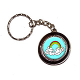 Rainbow in Clouds Spinning Circle Keychain