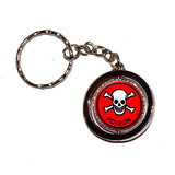 Poison Skull and Crossbones Red Spinning Circle Keychain