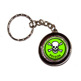 Poison Skull and Crossbones Green Spinning Circle Keychain