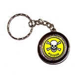 Poison Skull and Crossbones Yellow Spinning Circle Keychain